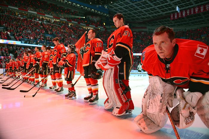 Calgary Flames before a game.