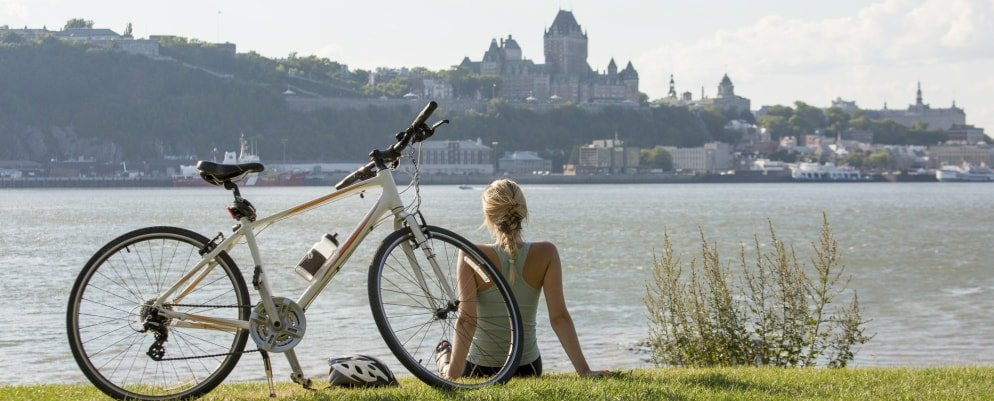 Quebec woman on bike