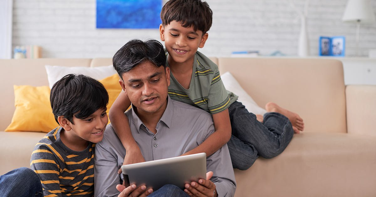 Indian father with two boys