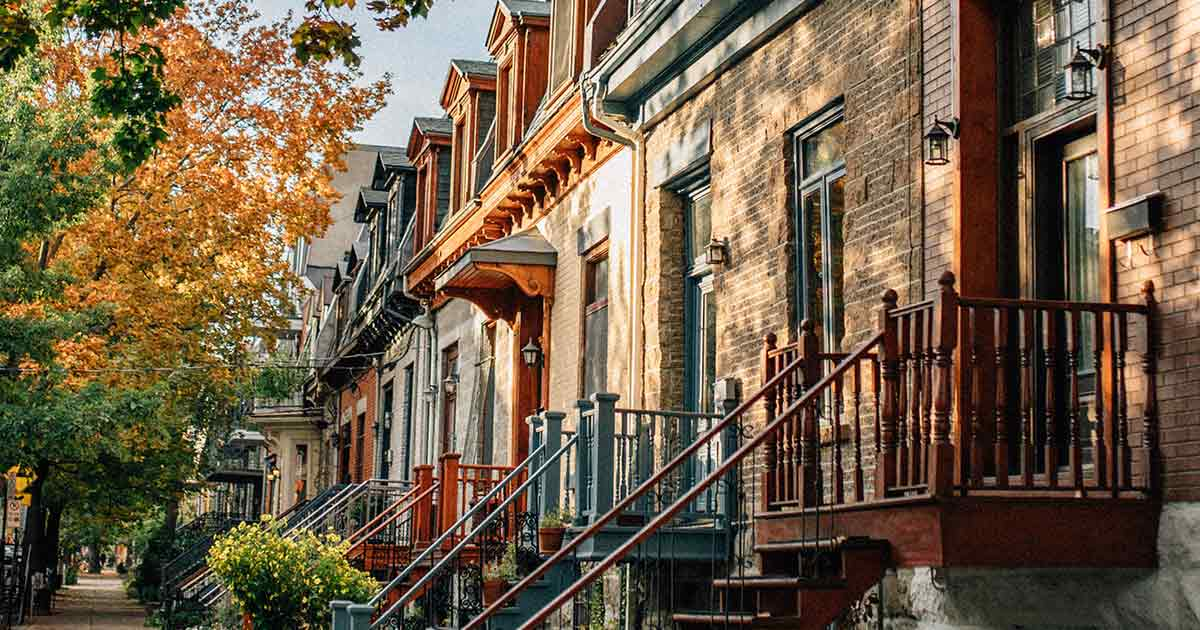 Colourful townhouses in downtown Montreal